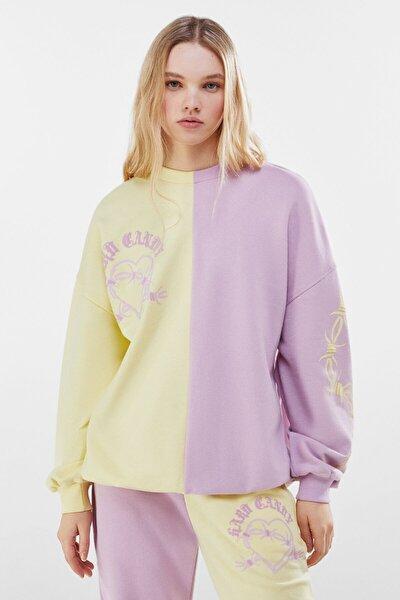 Kadın Mor Kontrast Candy Baskılı Sweatshirt