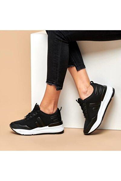 Z003-19K Siyah Kadın Kalın Taban Sneaker Spor Ayakkabı 100440395
