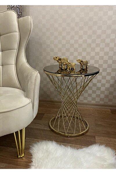 Leyza Hasır Gold Metal Sehpa-Servis  Sehpası Zigon