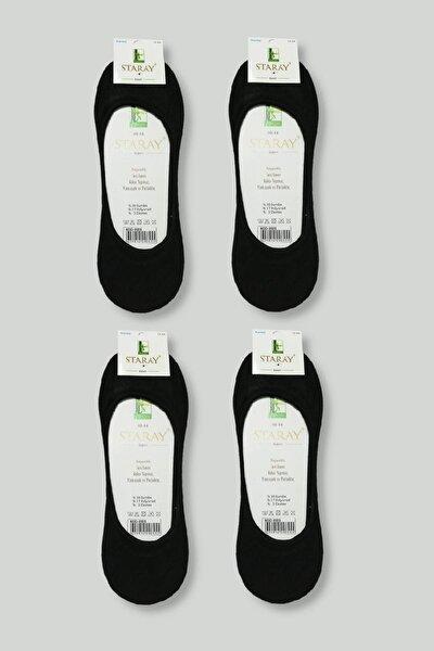 Erkek Siyah 4 Çift Staray Bambu Babet Çorap