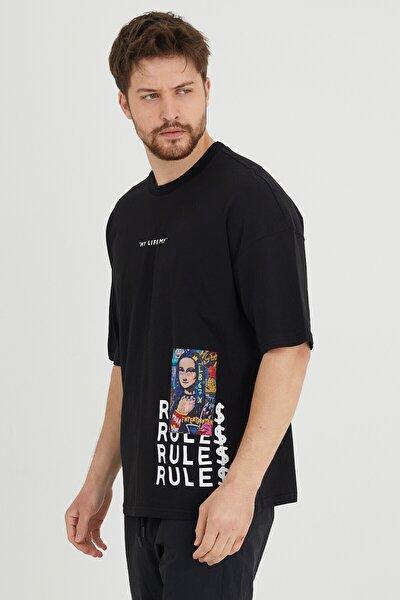 Siyah Baskılı Salaş T-shirt 1kxe1-44636-02