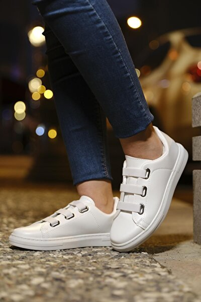 Kadın Bağcık Lastik Detaylı Sneaker Spor Ayakkabı Lona-55