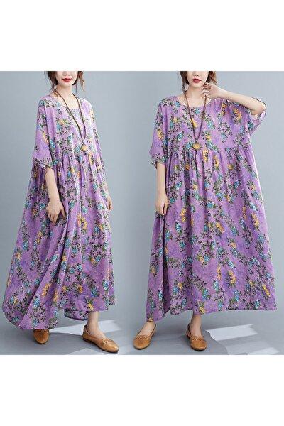 Kadın Mor Renkli Çiçek Desenli Rahat Salaş Uzun Elbise