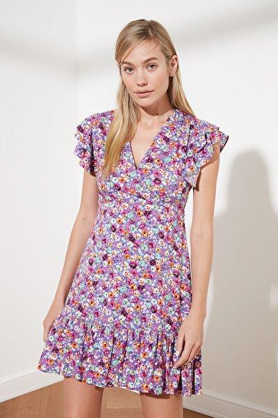 Mor Çiçek Desenli Elbise TWOSS21EL0272