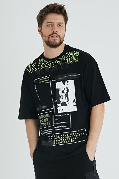 Siyah Japon Karakter Baskılı Salaş T-shirt 1kxe1-44644-02