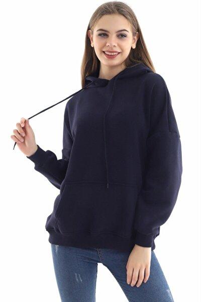Kadın Lacivert Kanguru Cepli Kapüşonlu Sweatshirt