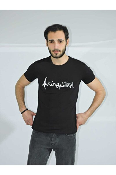 Erkek Siyah King Yazılı T-Shirt