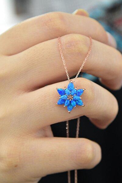 925 Ayar Gümüş Mavi Doğal Opal Taşlı Lotus Kolye