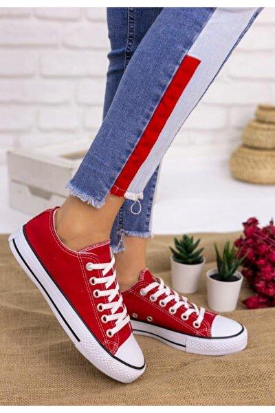 Kadın Kırmızı Keten Spor Ayakkabı