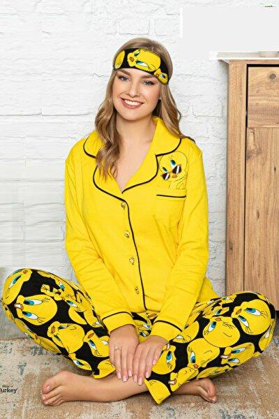 Kadın Sarı Tweety Penye Düğmeli Yeni Sezon Anne Kız Pijama Takımı