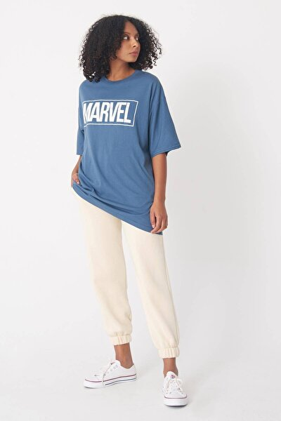Kadın İndigo Yazı Detaylı T-Shirt P0939 - J1 Adx-0000022289