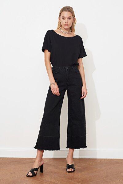 Siyah Paçası Renk Bloklu Yüksek Bel Culotte Jeans TWOAW20JE0201