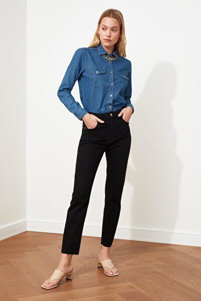 Siyah Yüksek Bel Slim Mom Jeans TWOSS20JE0249