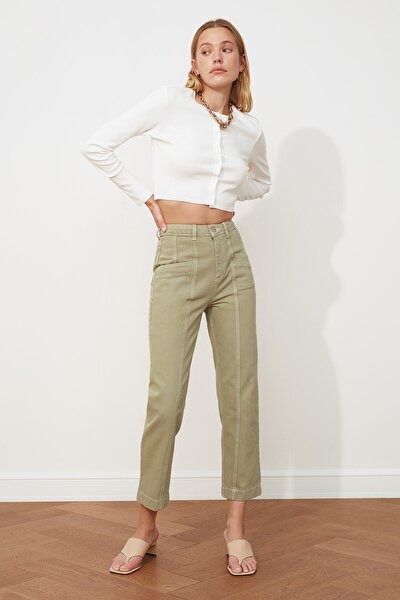 Haki Dikiş Detaylı Yüksek Bel Mom Jeans TWOSS20JE0386