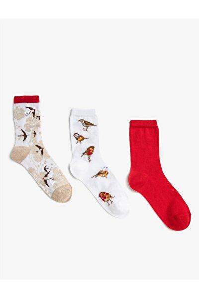 Kadın Desenli Pamuklu Çorap Seti 3'lü