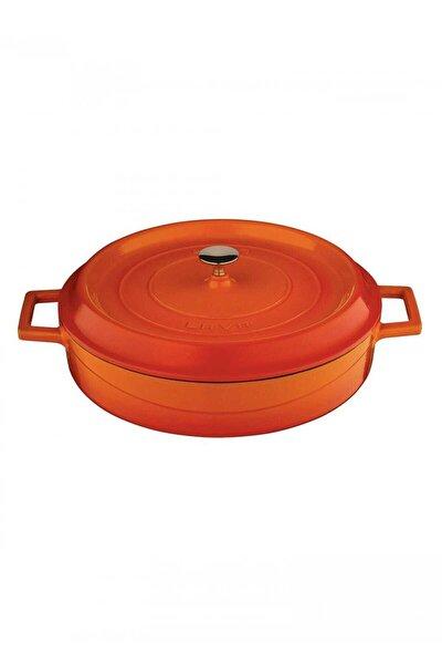 Trendy Çok Amaçlı Döküm Demir Sığ Tencere Çap 24 Cm-turuncu