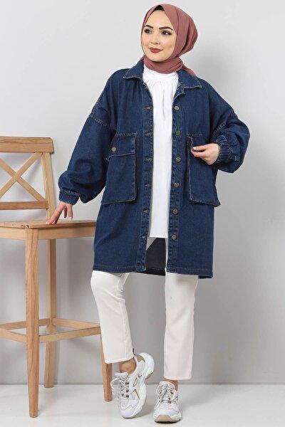 Kadın Koyu Mavi Kolları Lastikli Kot Ceket Tsd0088
