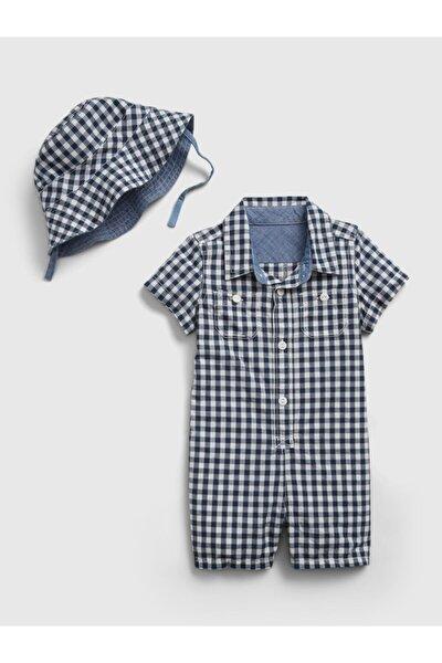 Erkek Bebek Pötikareli Tulum Ve Şapka Seti