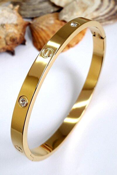 Kadın Alaşım Kartier Kelepçe Taşlı Bileklik Gold