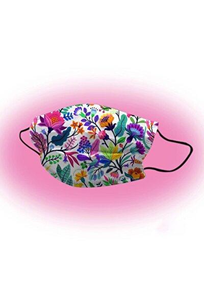 50 Adet Çiçek Desenli 3 Katlı Meltblownlu Ultrasonik Burun Telli Unisex Yüz Maskesi