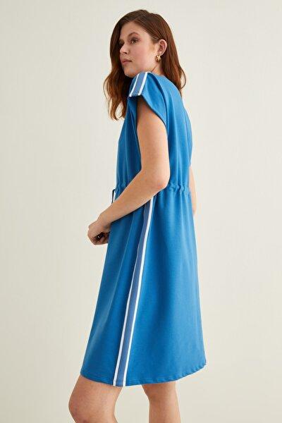 Kadın Mavi Şerit Detaylı Örme Elbise