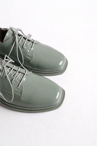 Kadın Yeşil Rugan Oxford Ayakkabı Rilen