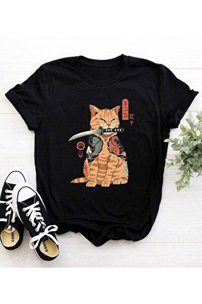 Unisex Siyah Cat Knife Anime T-shirt