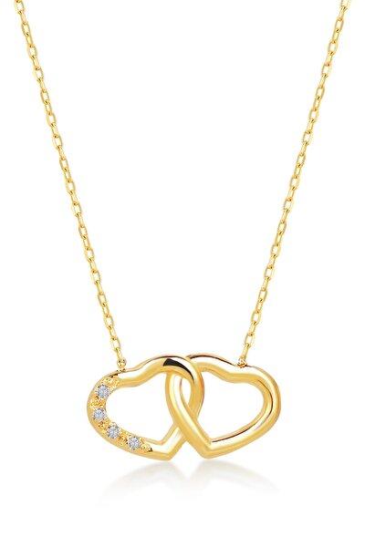 14 Ayar Altın Pırlanta Dizilimli Çift Kalp Kolye