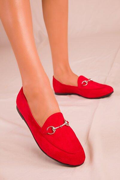 Kırmızı Süet Kadın Babet 15837