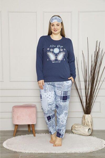 Kadın Lacivert Pamuklu Büyük Beden Pijama Takımı