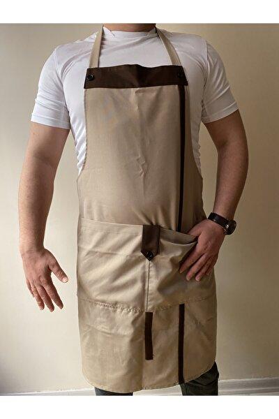 Mutfak Garson Aşçı Şef Iş Servis Önlüğü Boydan Askılı Cepli Düğmeli Kahverengi Unisex
