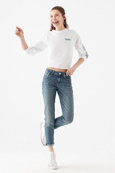 Kadın Ada Gölgeli  Vintage Jean Pantolon 1020533423