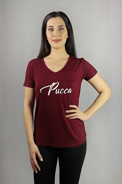Baskılı Basic T-shirt / V Yaka