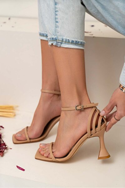 Bridget Ten Mat Tek Bant Kadın Topuklu Sandalet