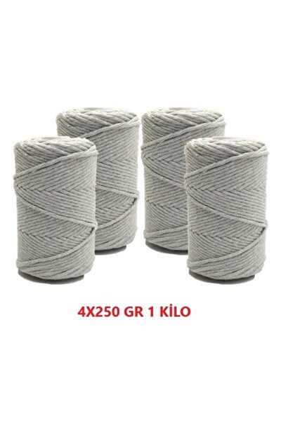 Gri 1 Kg Makrome Tarama Ipi Pamuk 3.0 / 3.5 Mm 4x250 gr