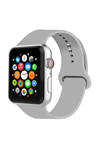 Apple Watch 38 mm 40 mm Uyumlu Gri Silikon Kordon