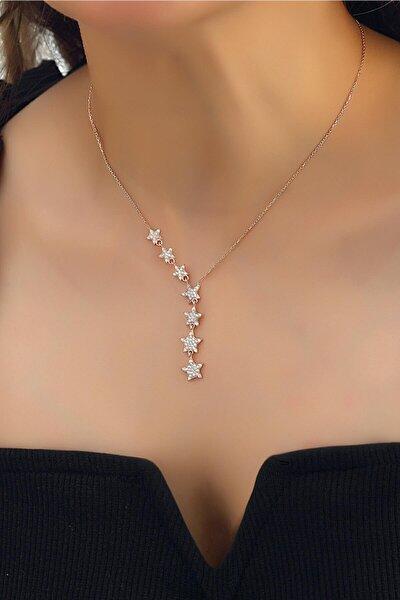 Kadın 925 Ayar Gümüş Zirkon Beyaz Taşlı Kayan Yıldız Takım Kolye