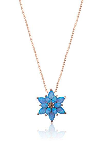 925 Ayar Açık Mavi Opal Taşlı Gümüş Lotus Kolye