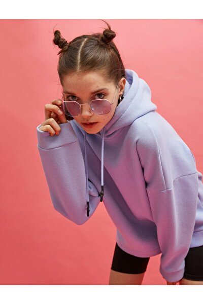 Kadın Mavi Kapüşonlu Sweatshirt