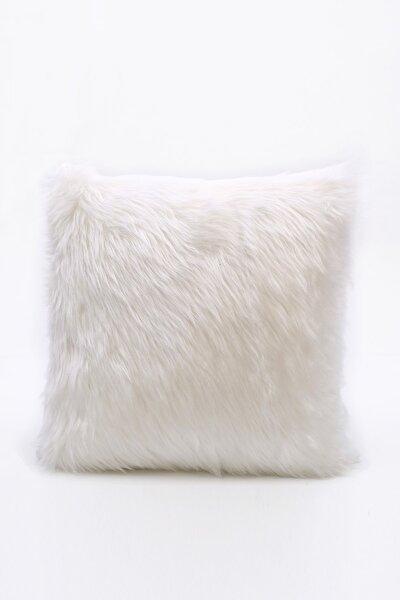 Peluş Kırlent Kılıfı - Beyaz