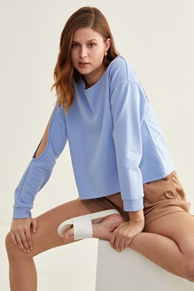 Kadın Mavi Kol Dekolteli Sweatshirt