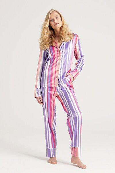 Kadın  Saten Çizgili Pijama Takımı