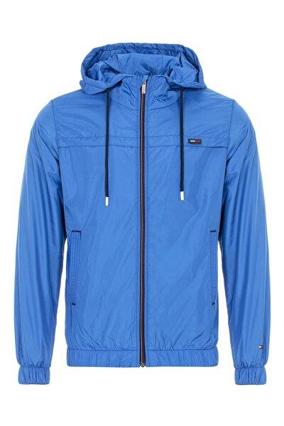 Erkek Mavi Suya Dayanıklı Kapüşonlu Içi Astarlı Cepli Yağmurluk - Rüzgarlık Ceket