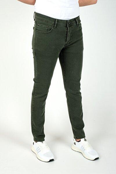 Erkek Slim Fit Dar Kesim Kot Pantolon Haki Yeşil