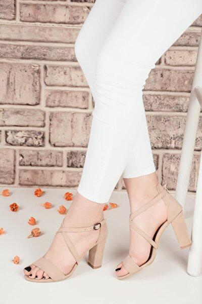 Kadın Bej Süet Ince Tek Bant Topuklu Ayakkabı Ba20166