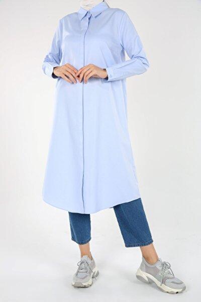 Mavi Gizli Patlı Gömlek Tunik