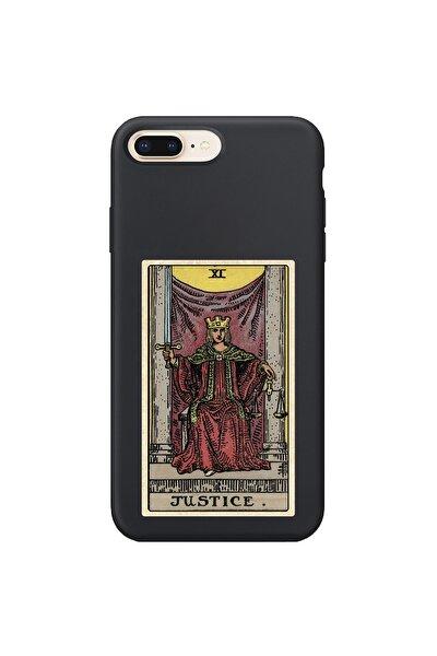 Iphone 8 Plus Uyumlu Siyah  Justice Desenli Telefon Kılıfı