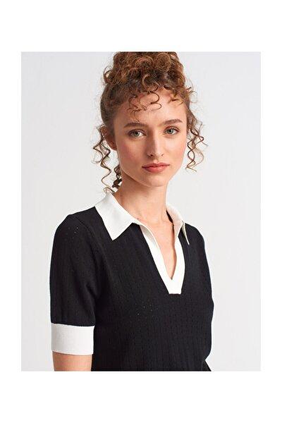 Kadın Siyah-Ekru Gömlek Yaka Patlı Kısa Kol  Bluz 2296