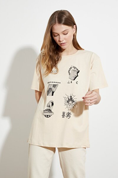 Bej Baskılı Boyfriend Örme T-Shirt TWOSS21TS0838