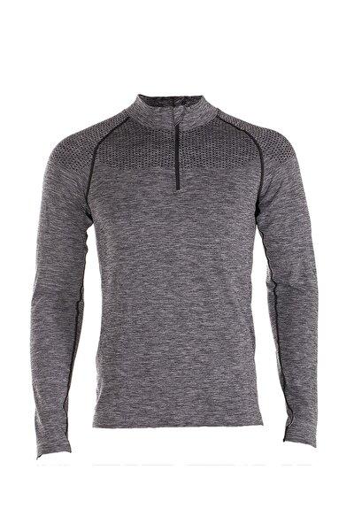 Ultimate Half Zip Hoodie Erkek Spor Uzun Kollu Gri Tişört